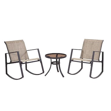 Arlington 3 Piece Bistro Set with Polyester Sling (Brown)