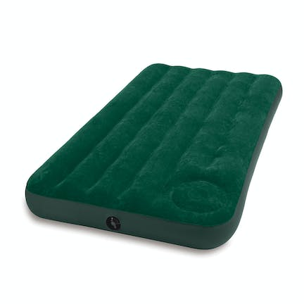 Intex Twin Inflatable Downy Airbed with Built-In Foot Pump Designed for the rugged outdoors, the Intex Downy Airbed is the perfect choice for campers.   The inner wave beam construction provides added support and comfort on hard ground. Just in case the weather turns, the flocked sleeping surface is waterproof making it easy to clean. Quickly inflate with the convenient built-in foot pump wherever you are (can be inflated with air pump as well).   Whether your sleeping in the basement, a dorm room floor, or the great outdoors, the Intex Downy Airbed will provide a pleasant night's sleep.
