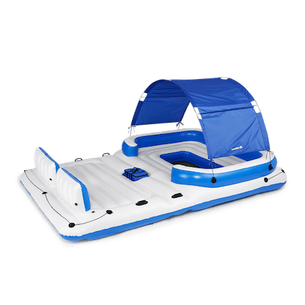 CoolerZ Tropical Breeze 6 Person Pool Lake Raft Lounge, Blue