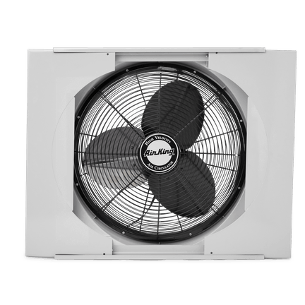 Air King 9166 20 Inch 3560 CFM Whole House Window Mounted Fan With Storm Guard